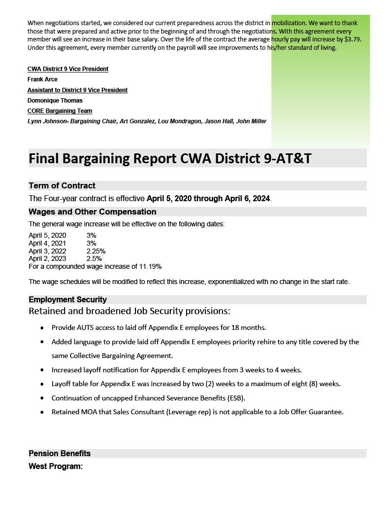 Cwa & At&t Final Bargaining Report Cwa District 9 | Cwa 9003 Within Lodi Unified School District Calendar 2021 20