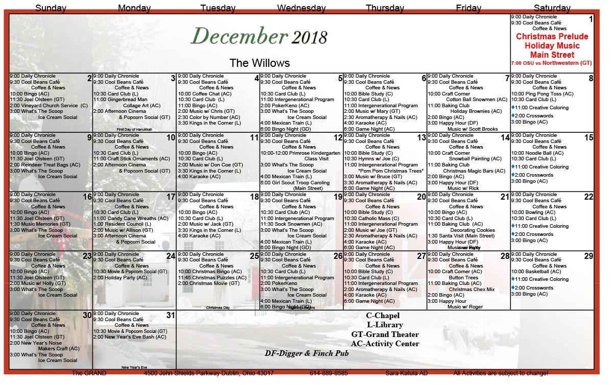 December 2018 Assisted Living Activity Calendar   Senior Regarding Assisted Living Activity Calendar Ideas