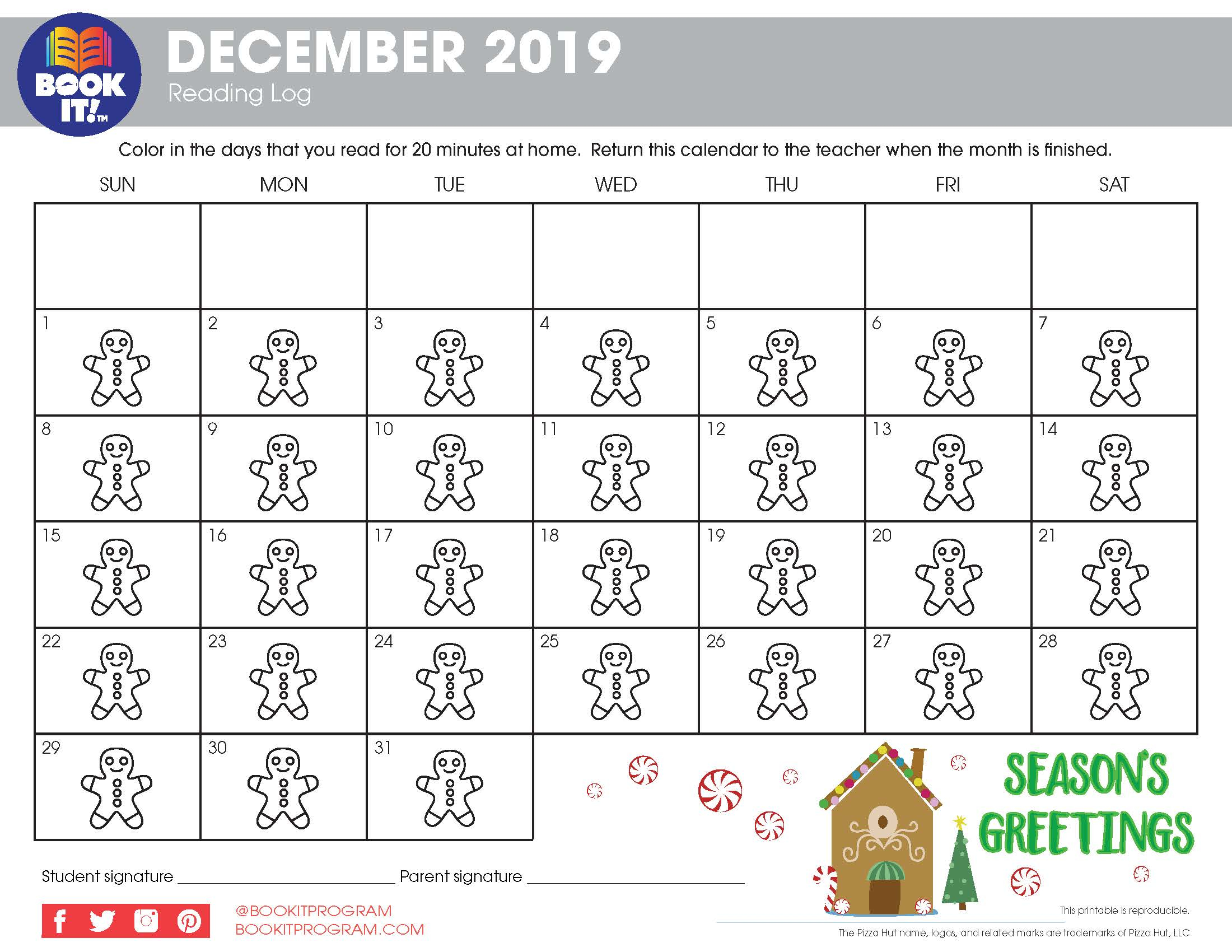 December Tracking Calendars Holiday | The Pizza Hut Book It With Pizza Hut Book It Calendar