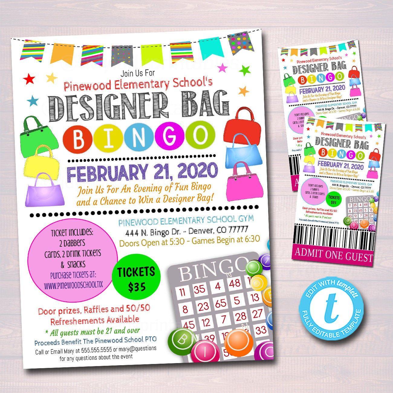 Designer Bag Bingo Night Flyer Ticket Set School Pto Pta In Turning Stone Bingo Calendar For February 2020