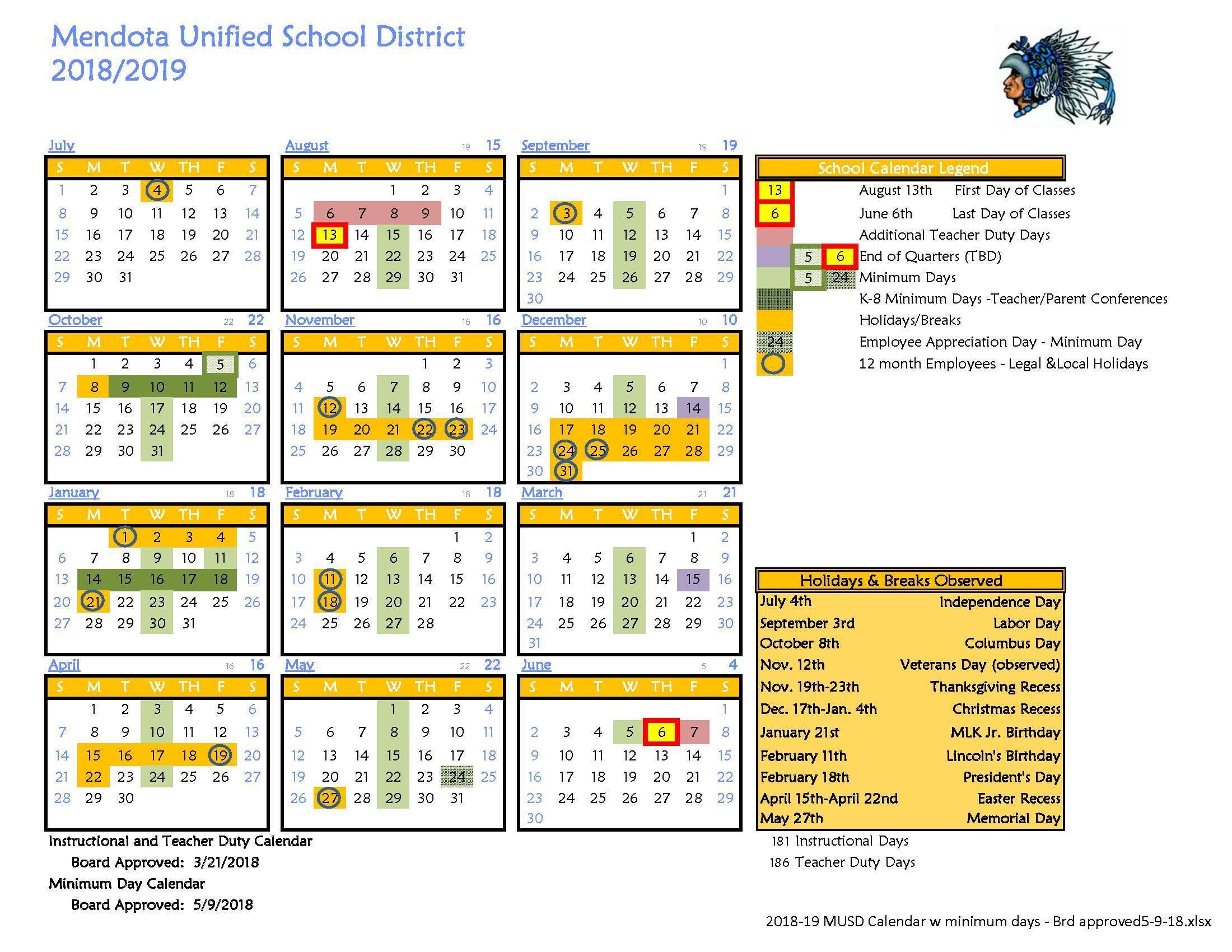 District Calendar – About Us – Washington Elementary School Inside City Of Merced School District Calendar