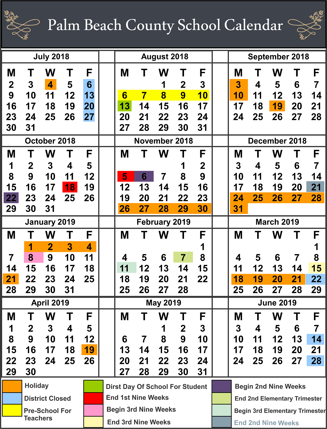 ✅Palm Beach County School Calendar regarding Printable Palm Beach County School Calendar
