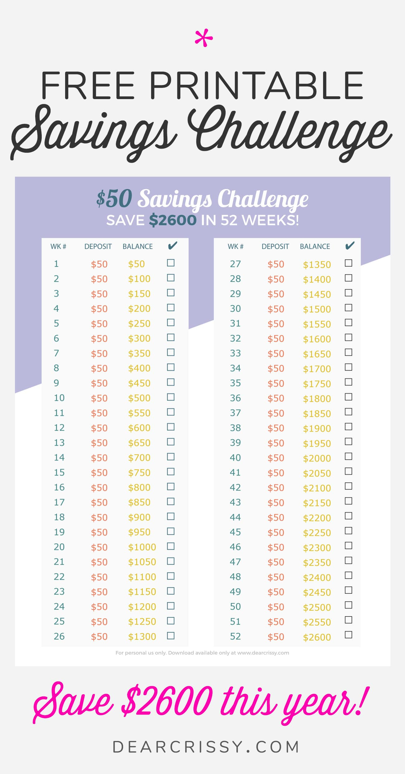 Easy $50 Money Savings Challenge – Save $2,600 This Year! Inside 52 Week Challenge Calendar
