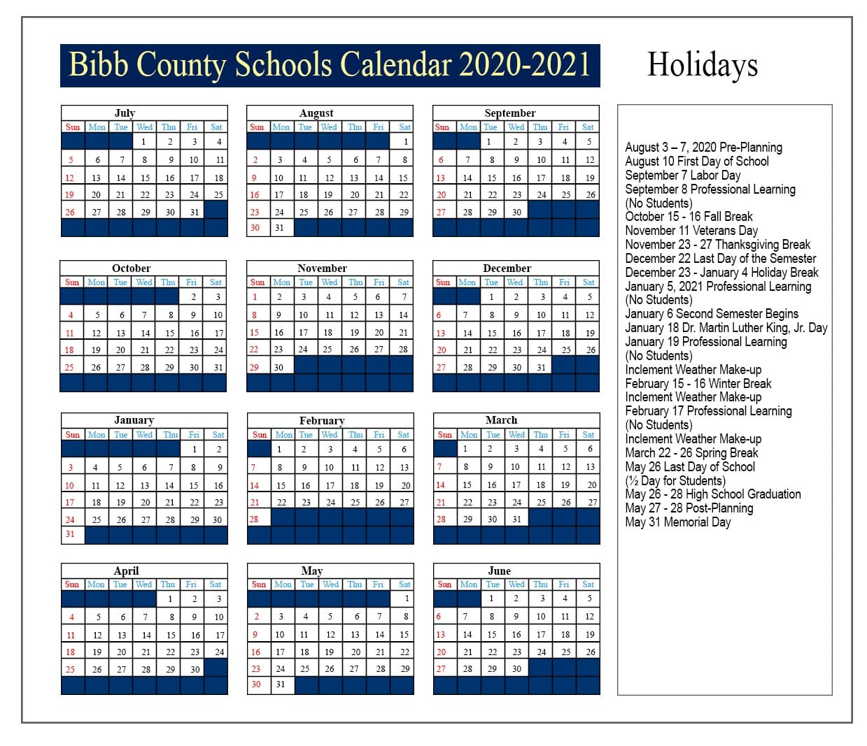 😊bibb County Schools Calendar 2020 2021😊 Inside Georgia State Academic Calendar 2021 2020