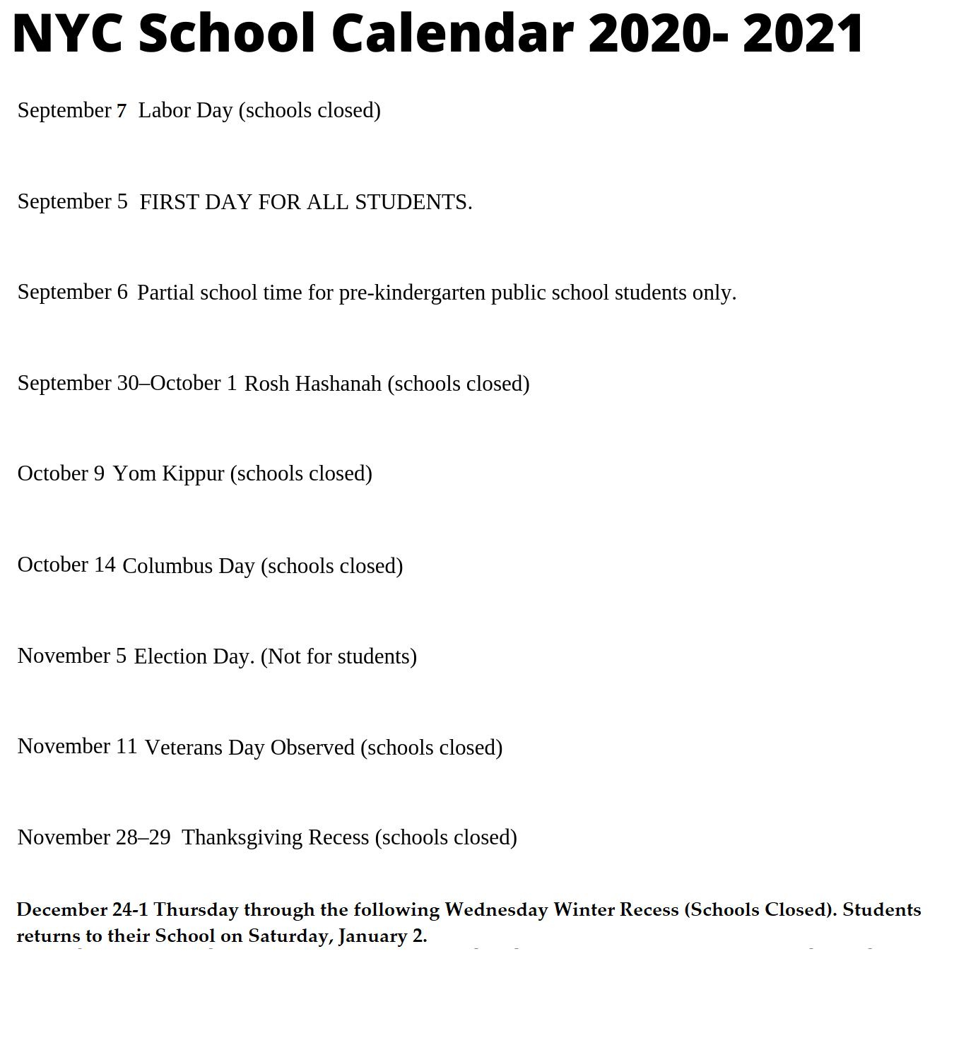 🥰nyc School Holidays Calendar 2020 2021🥰 With Regard To Nyc Doe Calendar 2015 2020