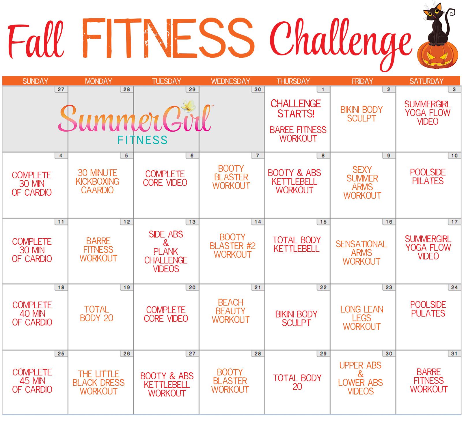 Fall Fitness Challenge Calendar | Summergirl Fitness Within Fitness Challenge Calendars For Students Pdf