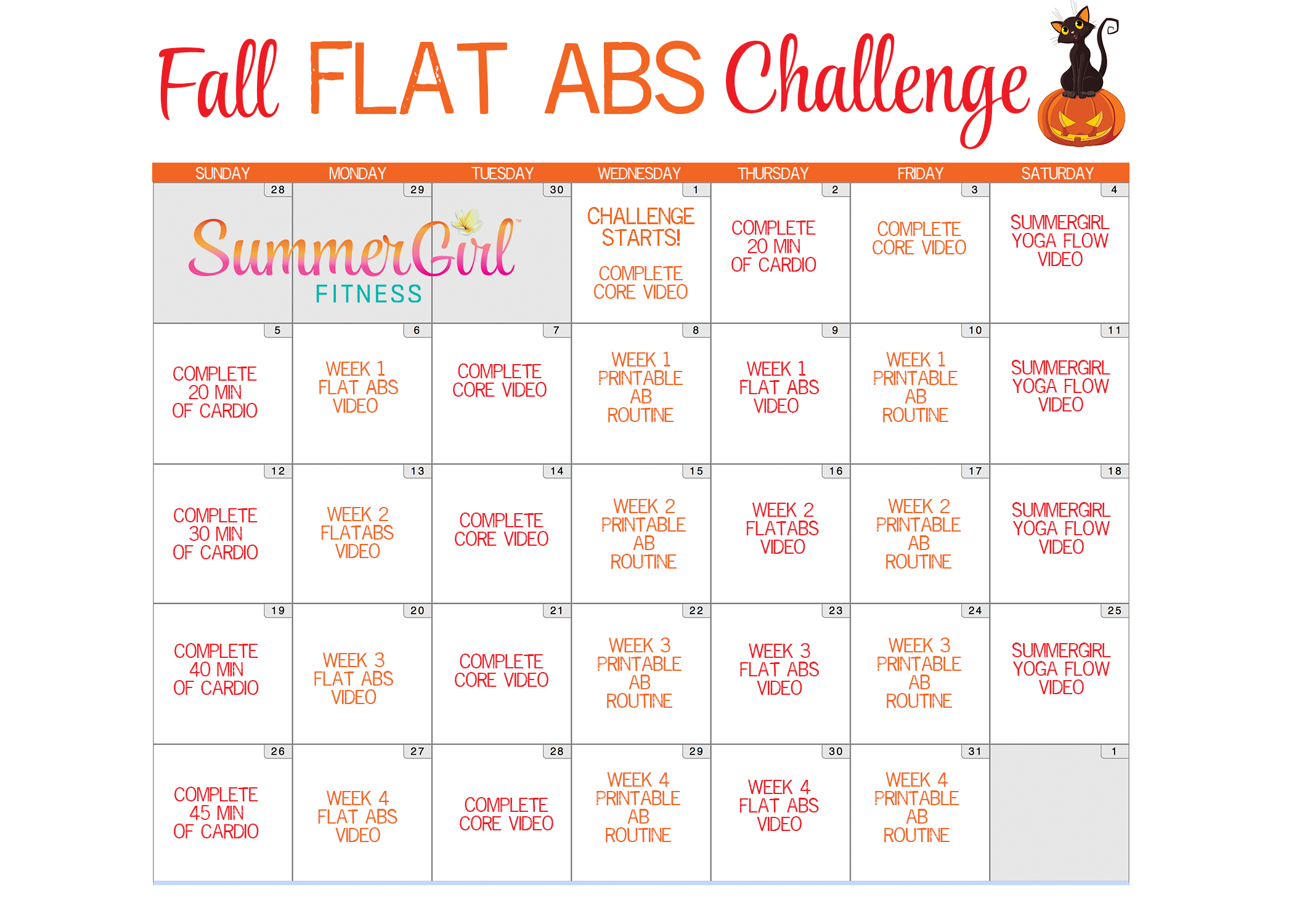 Fall Flat Abs Challenge Calendar | Summergirl Fitness Inside Ab Challenge Calendar Printable
