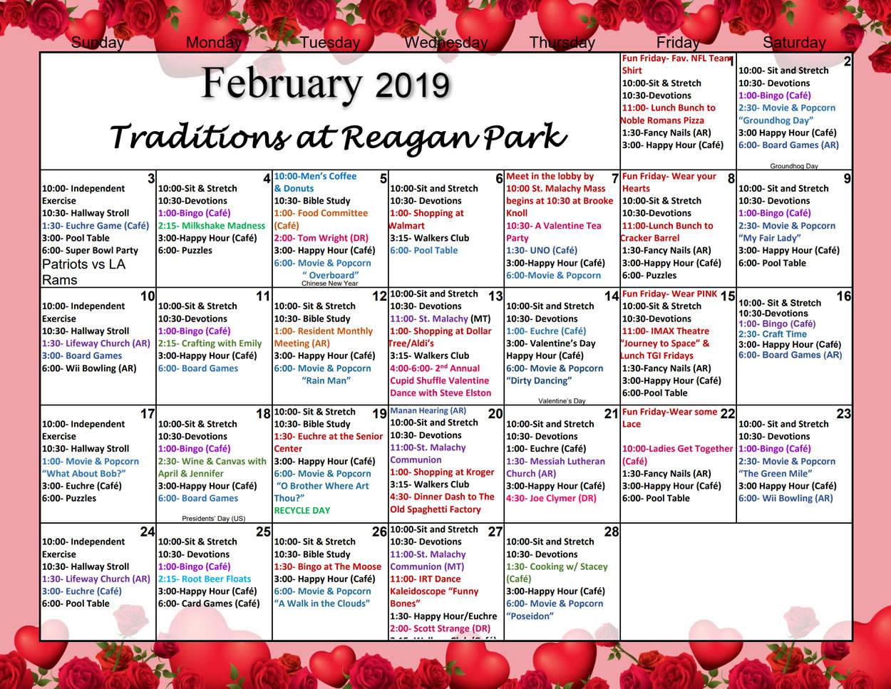 February Assisted Living Activities   Traditions At Reagan Park Regarding Assisted Living Activity Calendar Ideas