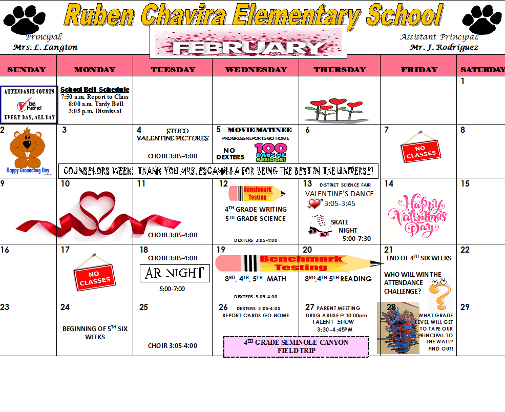 February Calendar with San Felipe Del Rio Cisd Schedule