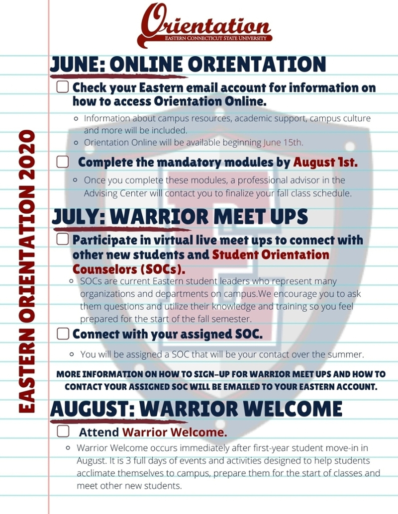 First-Year Orientation - Eastern regarding Eastern Ct State Calendar