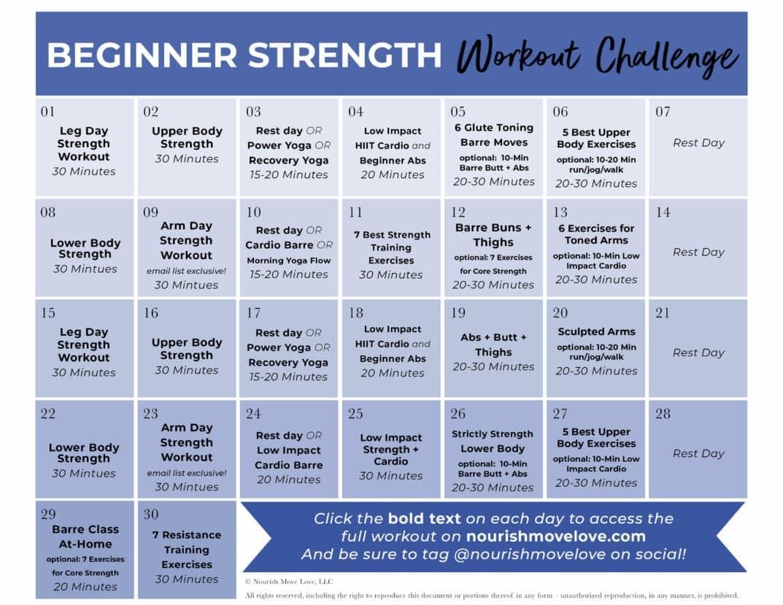 Fitness Challenge: 30 Day Beginner Workout Plan | Nourish For Squat Challenge Calendar Beginner Printable