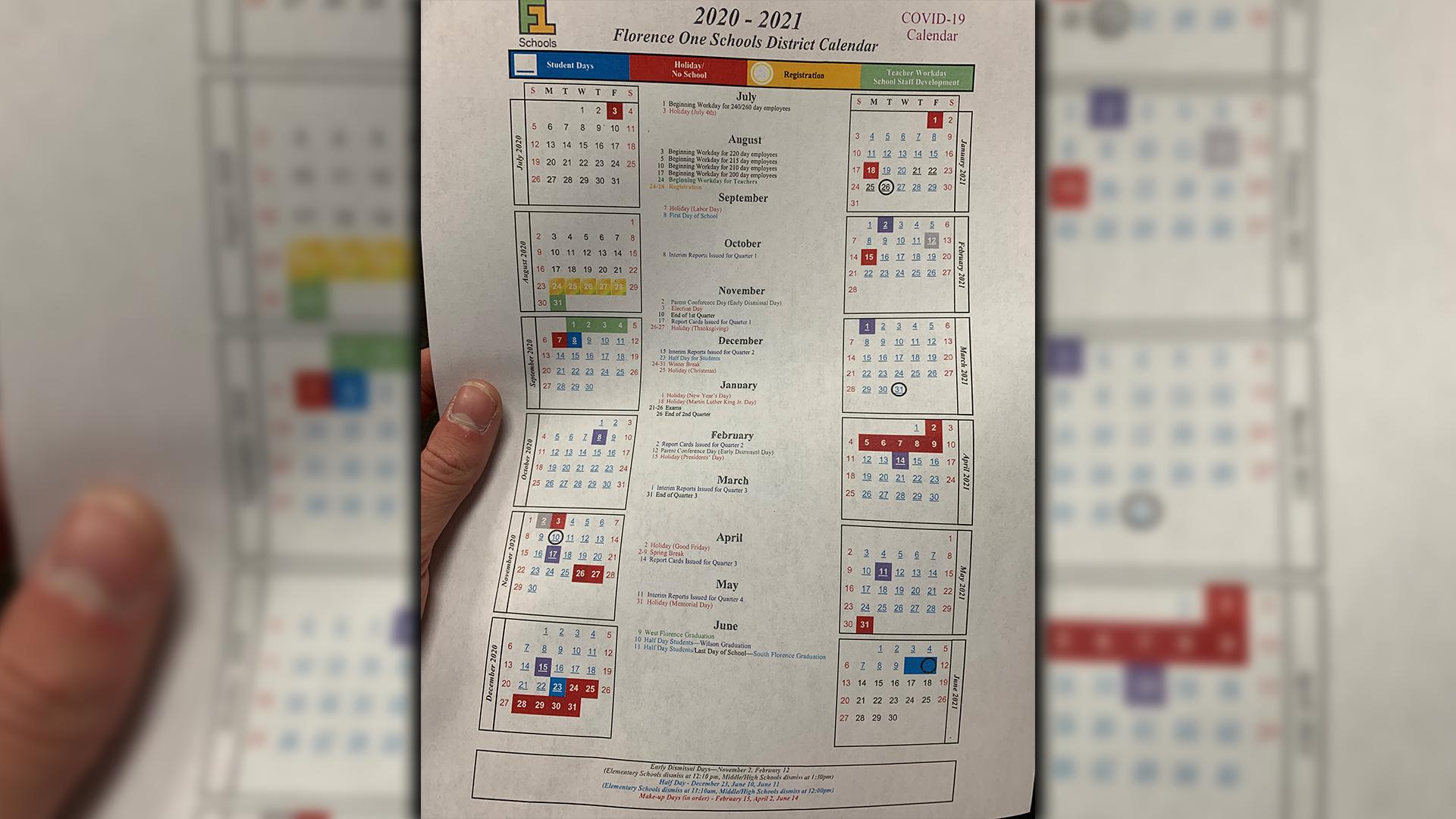 Florence 1 Schools Board Approves New Calendar, Start Date Regarding Va Beach Schools Staff Calendar