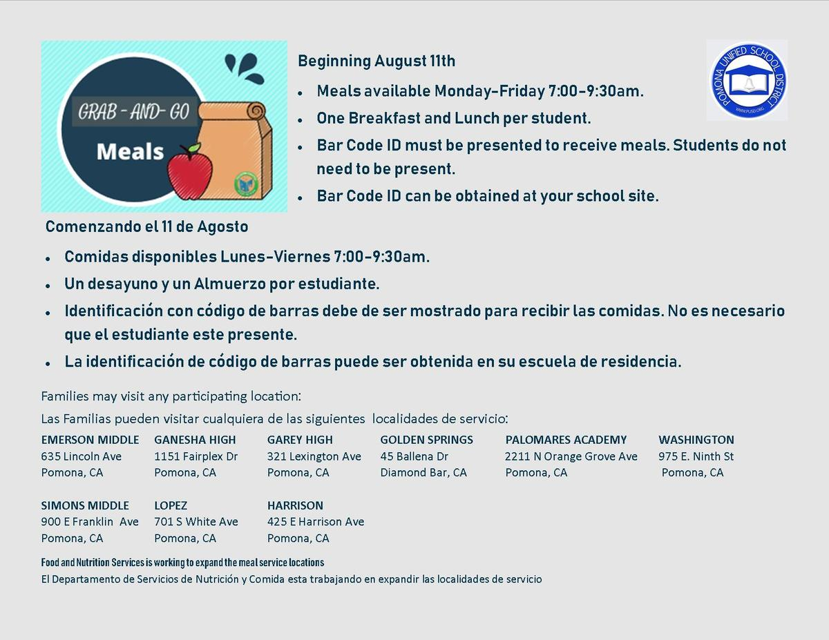 Food & Nutrition Services - District Departments - Pomona Within Pomona Unified School District Academic Calendar