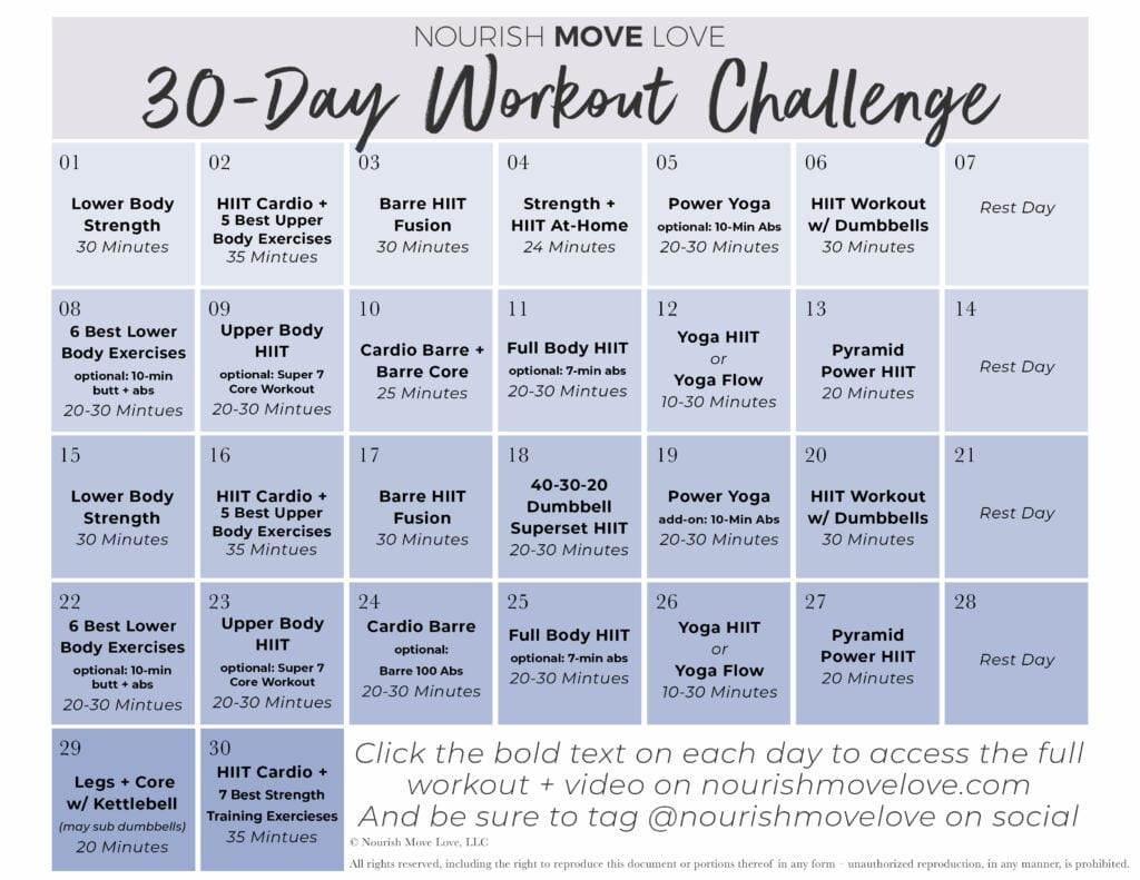 Free 30 Day Workout Challenge + Workout Calendar |Nourish For 30 Day Tummy Challenge Calendar