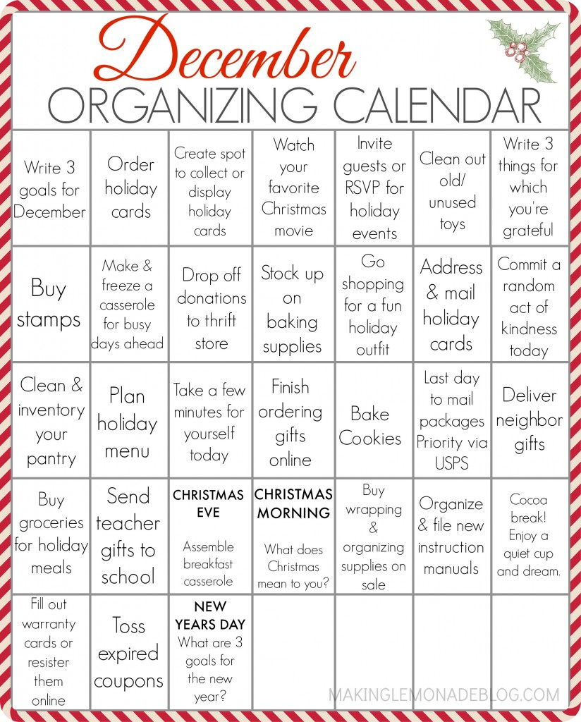 Free Printable December Organizing Calendar | Making Lemonade Throughout Every Day Is A Holiday Printable