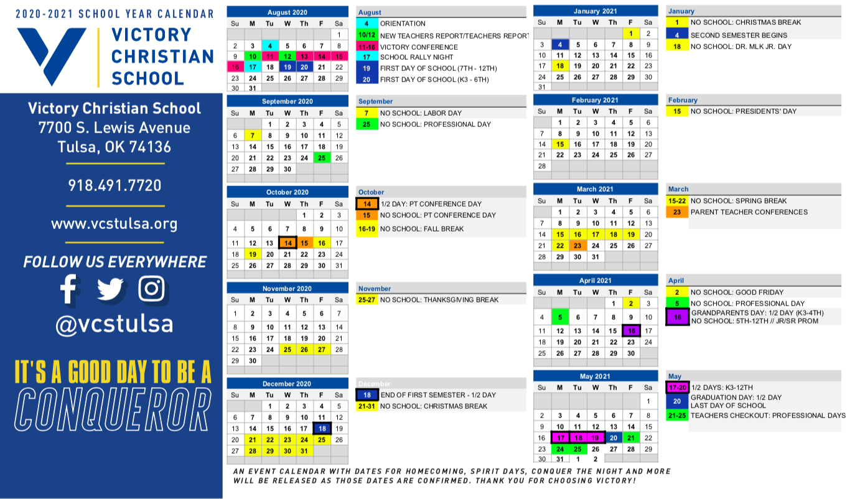 General Calendar 2020 2021 | Victory Christian School Inside Academic Calendar 2021 Tulsa University