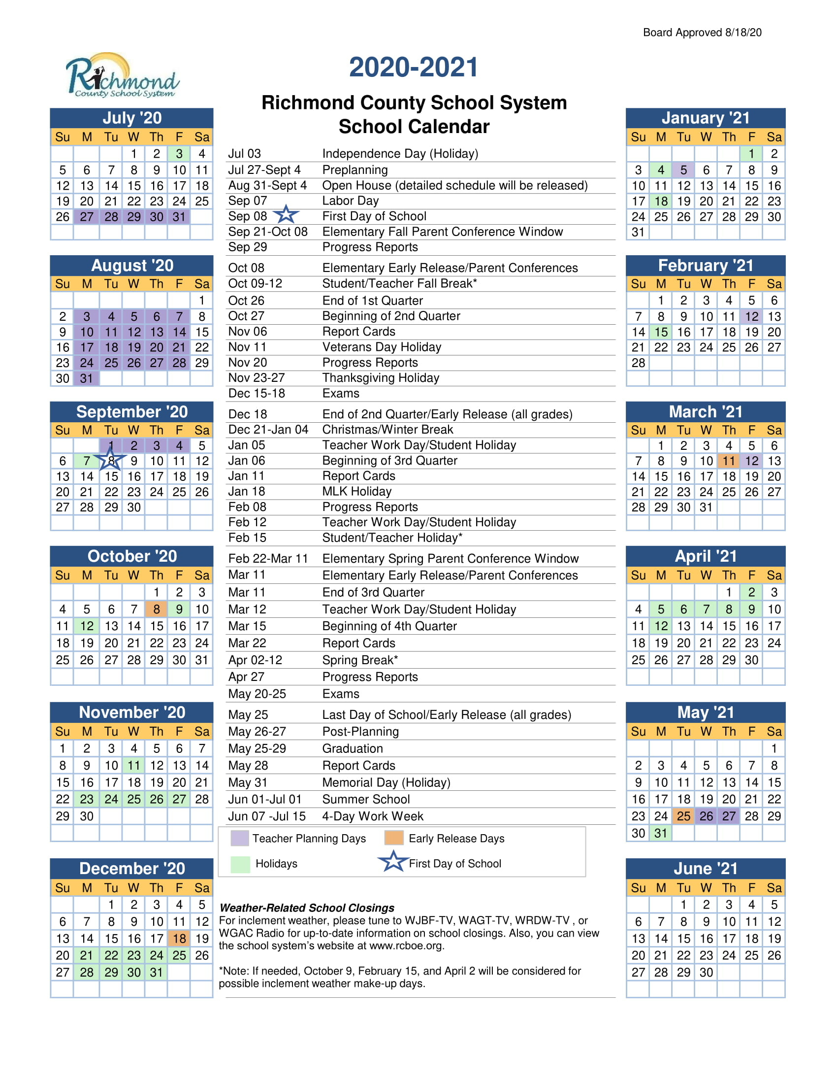 Guidance Santriece Copeland / Staff Homepage With Regard To Richmond Countyboard Of Education 2021 Calendar