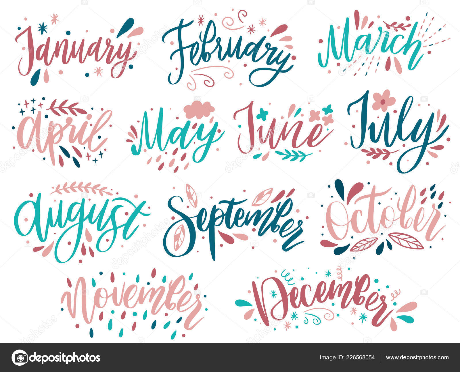 Handwritten Names Of Months: December, January, February, March, April,  May, June, July, August September October November Calligraphy Words For With Regard To October Month Mexican Calendar With Personal Names