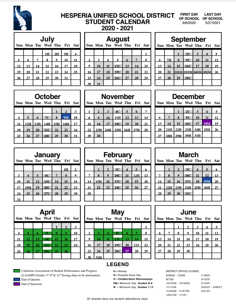 Hesperia High School Throughout Norco College Academic Calendar 2021 2020
