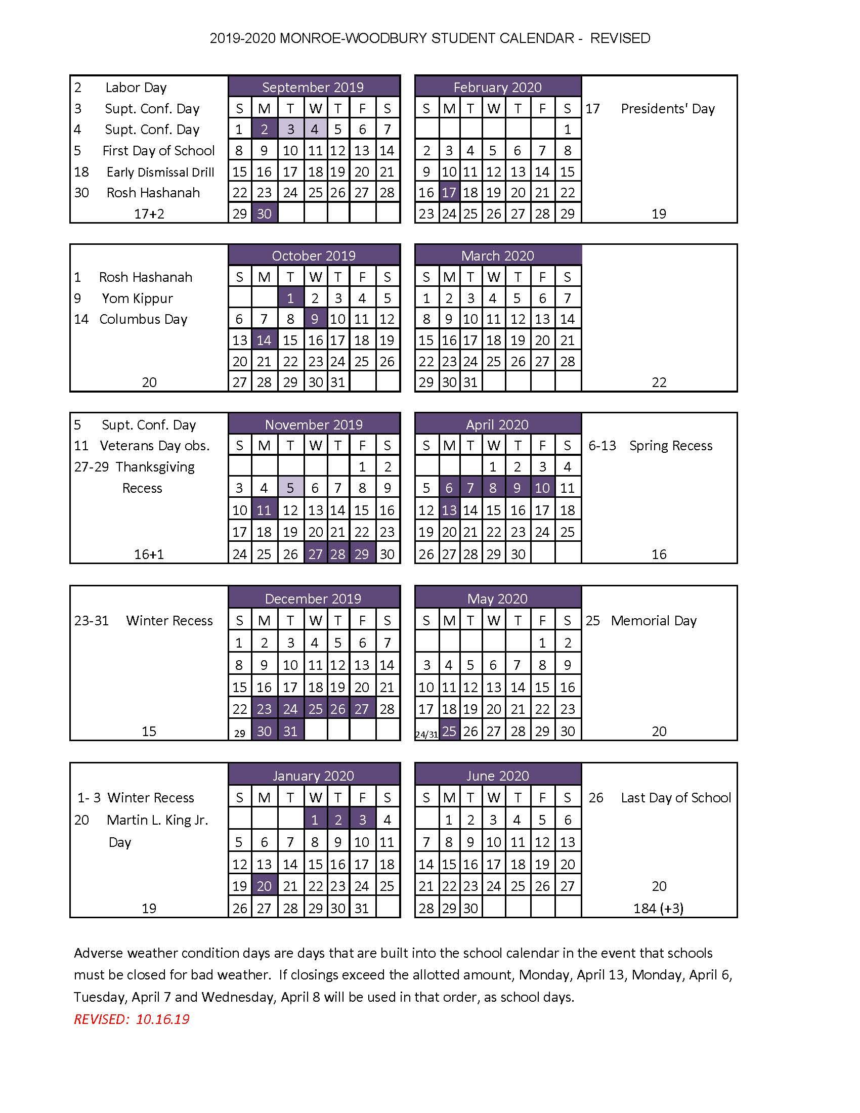 High School Handbook – Monroe Woodbury Central School With Nassau Community College Spring 2020 Student Calendar