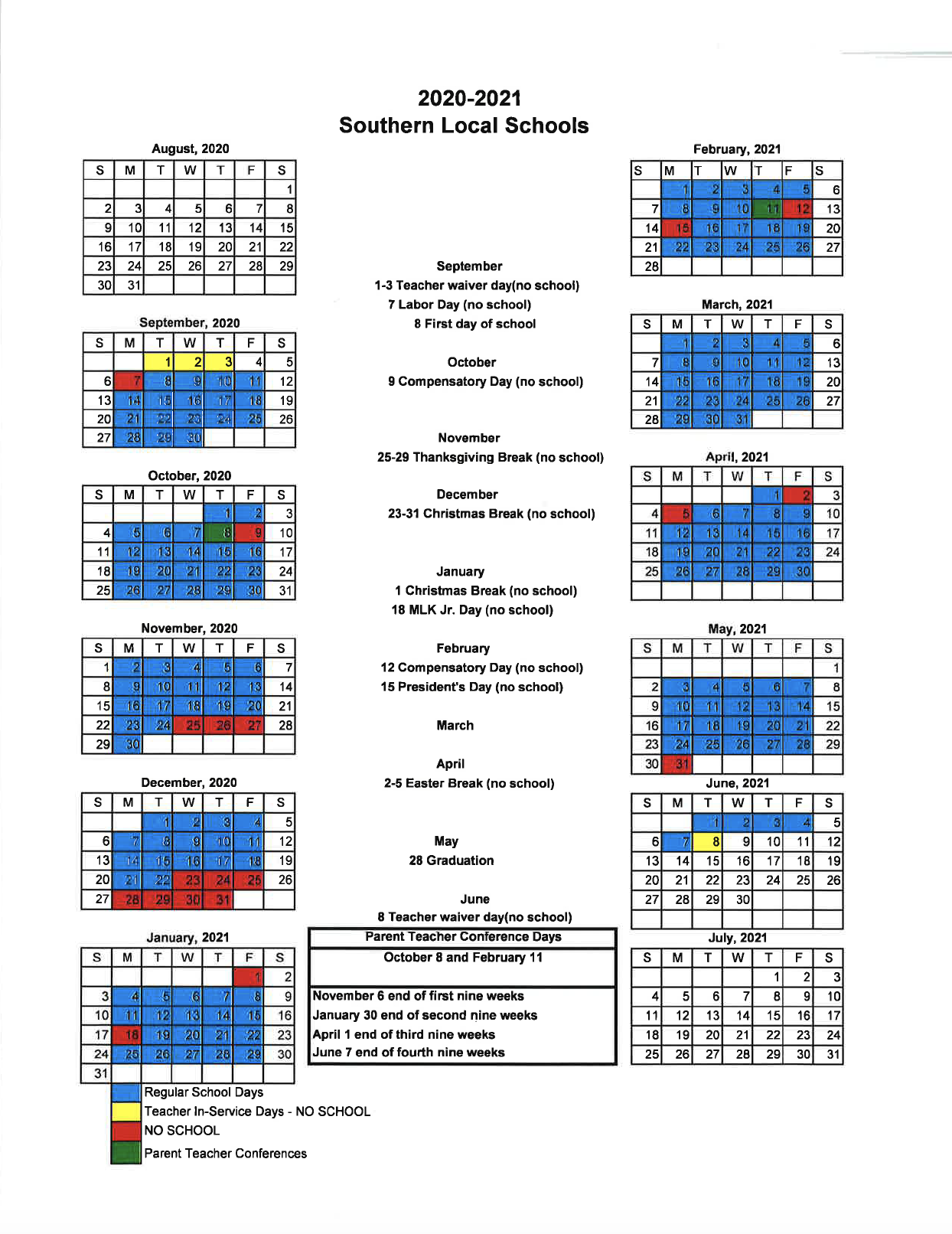 Home – Southern Local School District Throughout Corning Central School District Yearly Calendar