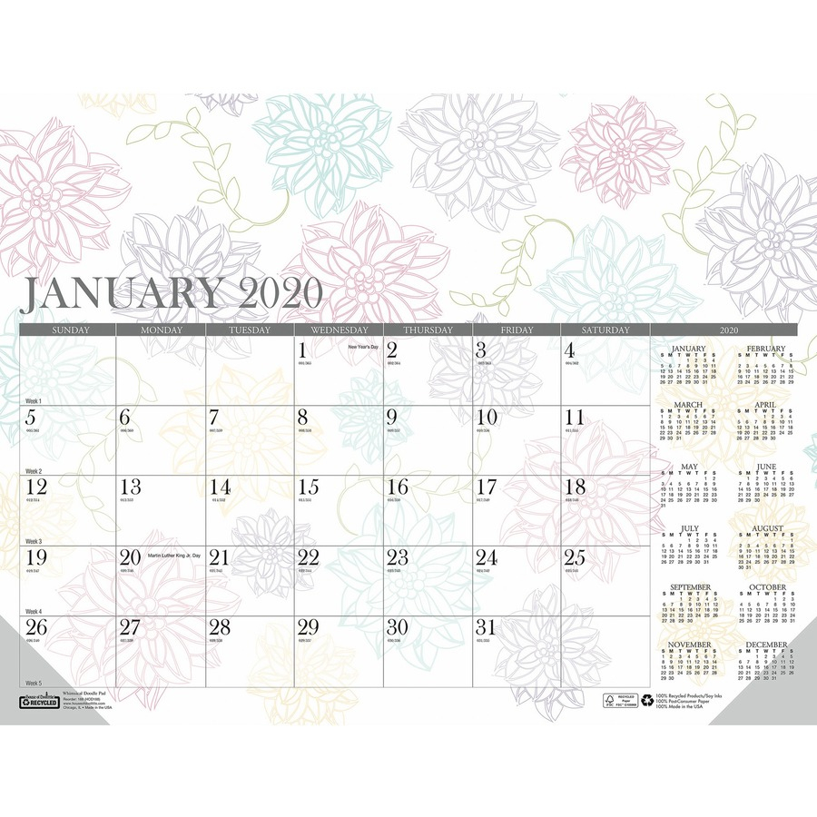 House Of Doolittle Whimsical Doodle Monthly Desk Pad - Julian Dates -  Monthly - 1 Year - January 2021 Till December 2021 - 1 Month Single Page  Layout In Julian Date Calendar 2021 Converter