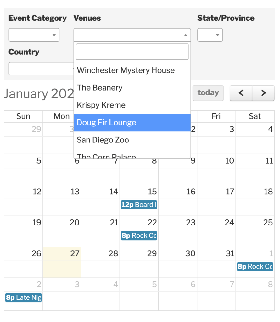 How To Create Custom Filters For The Events Calendar Regarding Little Rock January Event Calendar