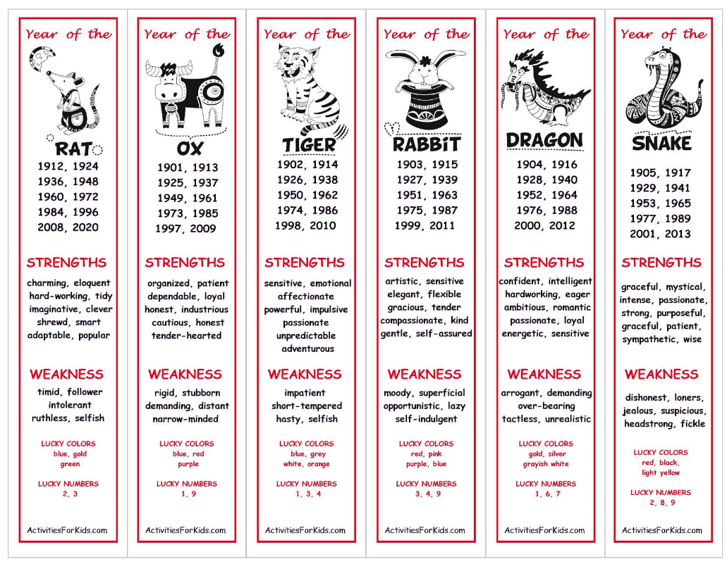 Http://activitiesforkids/chinese Zodiac Bookmarks Inside Chinese Calendar Animals Free Printable