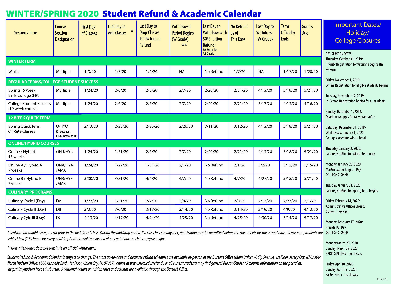 Hudson County Community College Inside Nassau Community College Spring 2020 Student Calendar