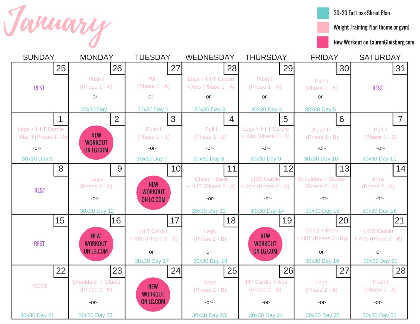 January 22 28 Fitness Schedule (Calendar Challenge) – Lauren For Fitness Challenge Calendars For Students Pdf