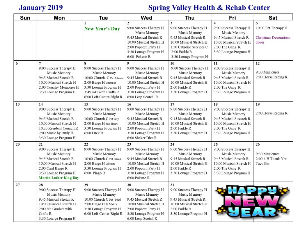 January Activity Calendar – Spring Valley Senior Living And Throughout Activity Calendar For Assisted Living