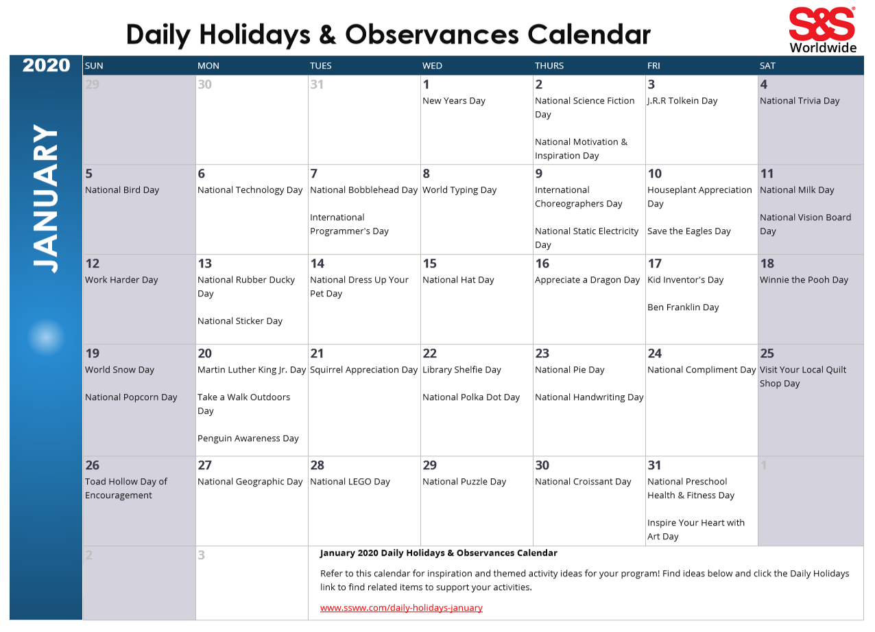 January Daily Holidays & Observances Printable Calendar With Regard To Every Day Is A Holiday Printable