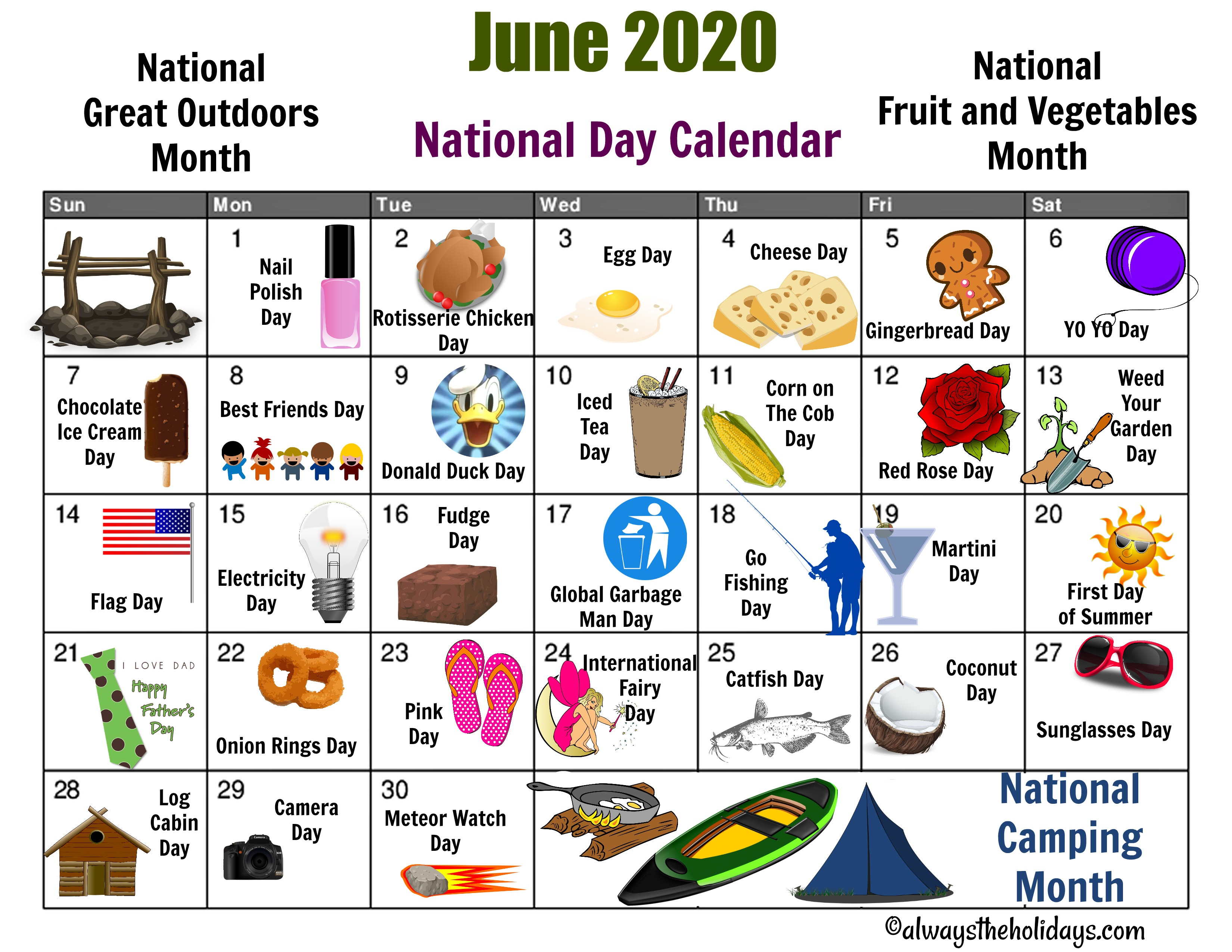 June National Day Calendar Printable – Father's Day, Camping With Regard To Every Day Is A Holiday Printable