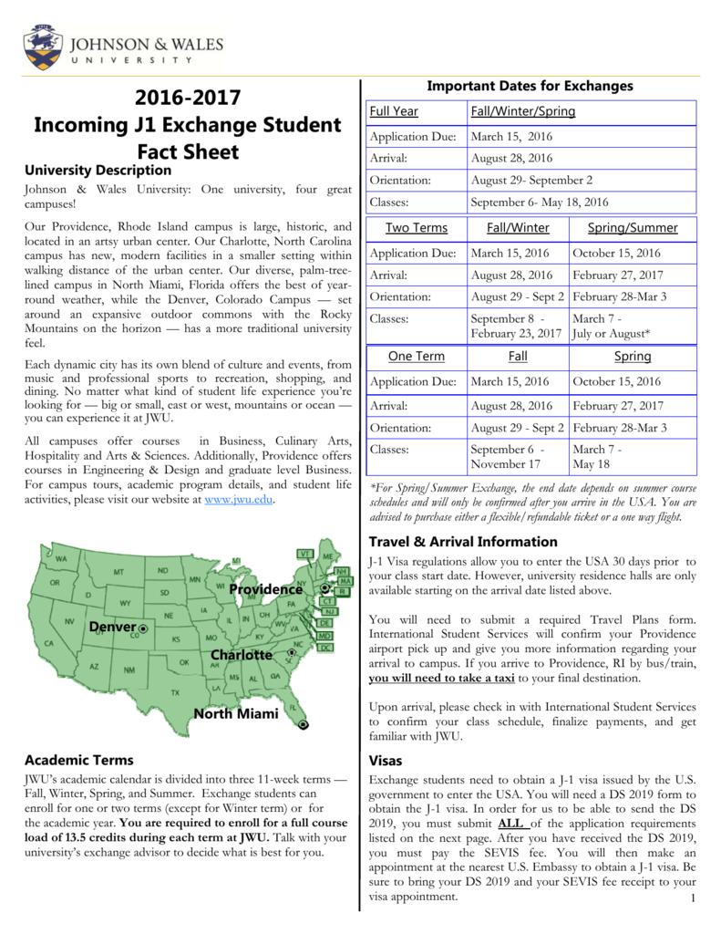 Jwu Exchange Student Fact Sheet Regarding Rhode Island University Academic Calendar