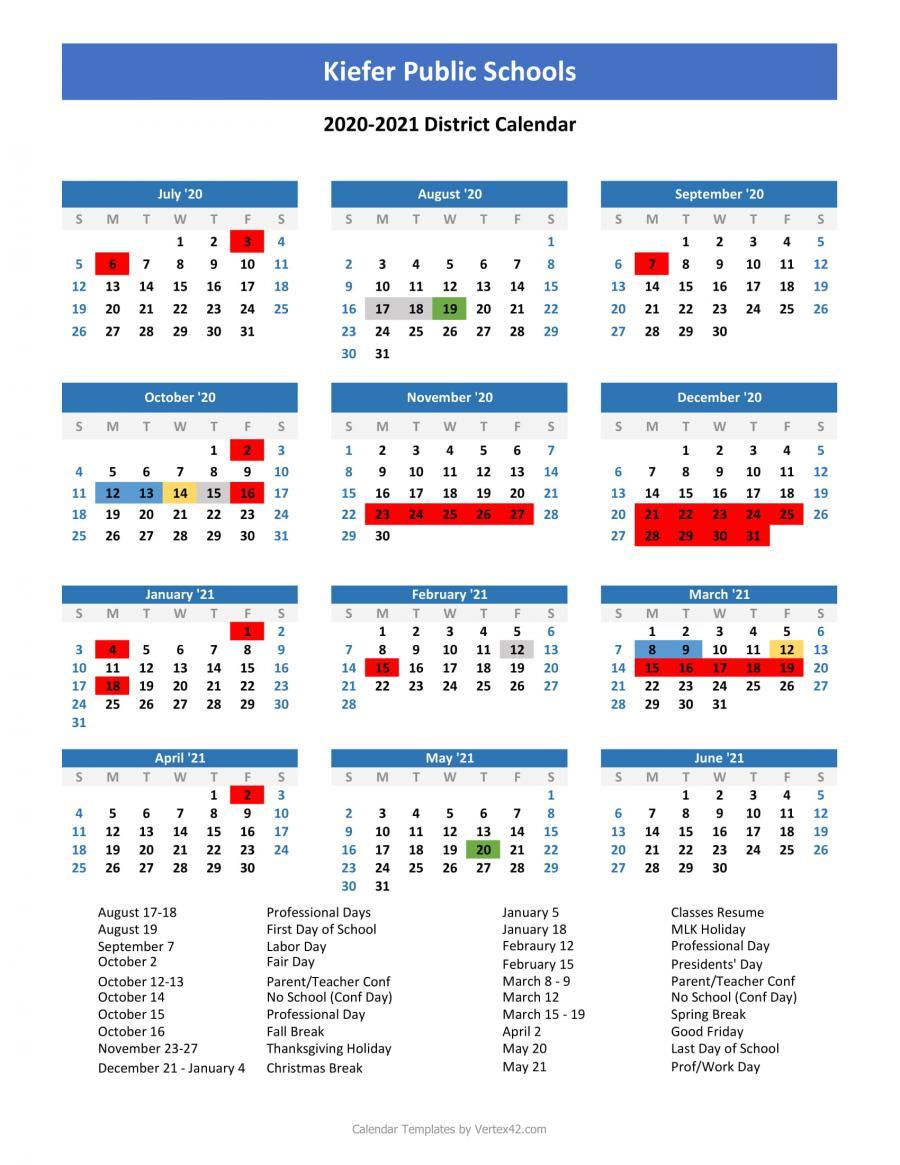 Kiefer Public Schools – 2020/2021 School Calendar In Academic Calendar 2021 Tulsa University