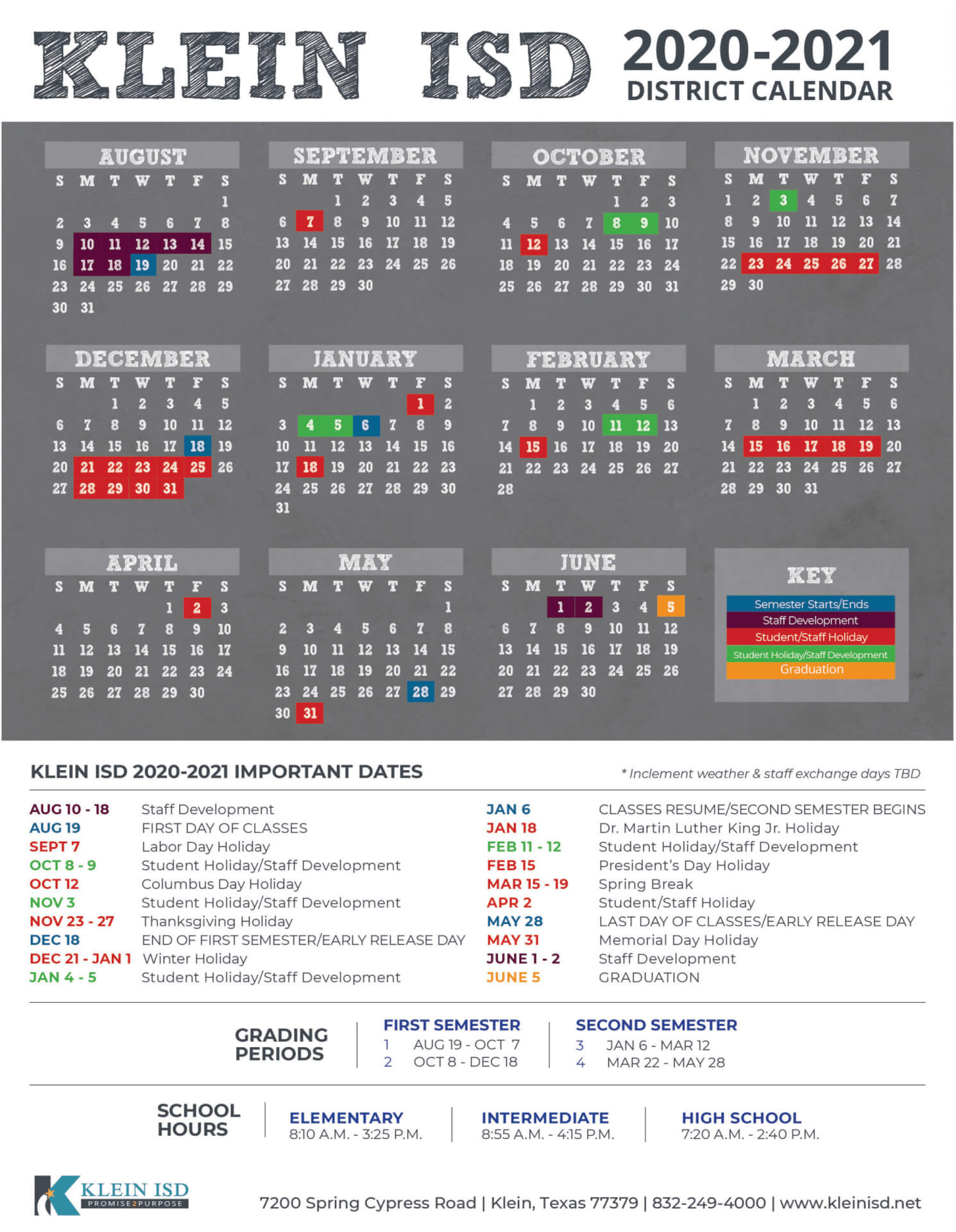 Klein Isd Announces Calendar For 2020 2021 School Year Pertaining To University Of Houston 2021 2021 Calendar