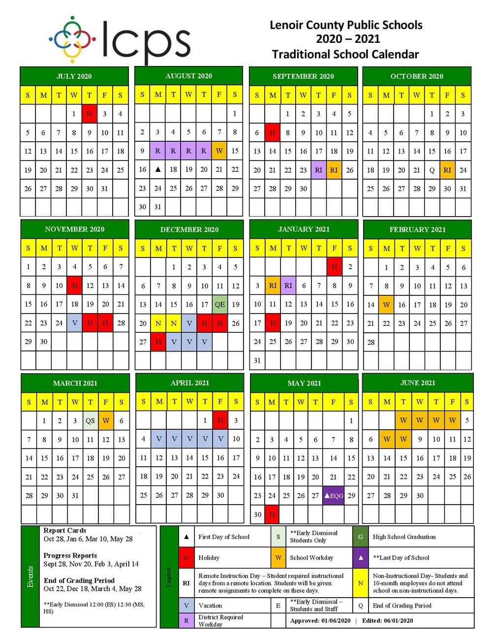 Lenoir County Public Schools Releases The Revised 2020-2021 for Lenoir County 2021 2021 School Calendar