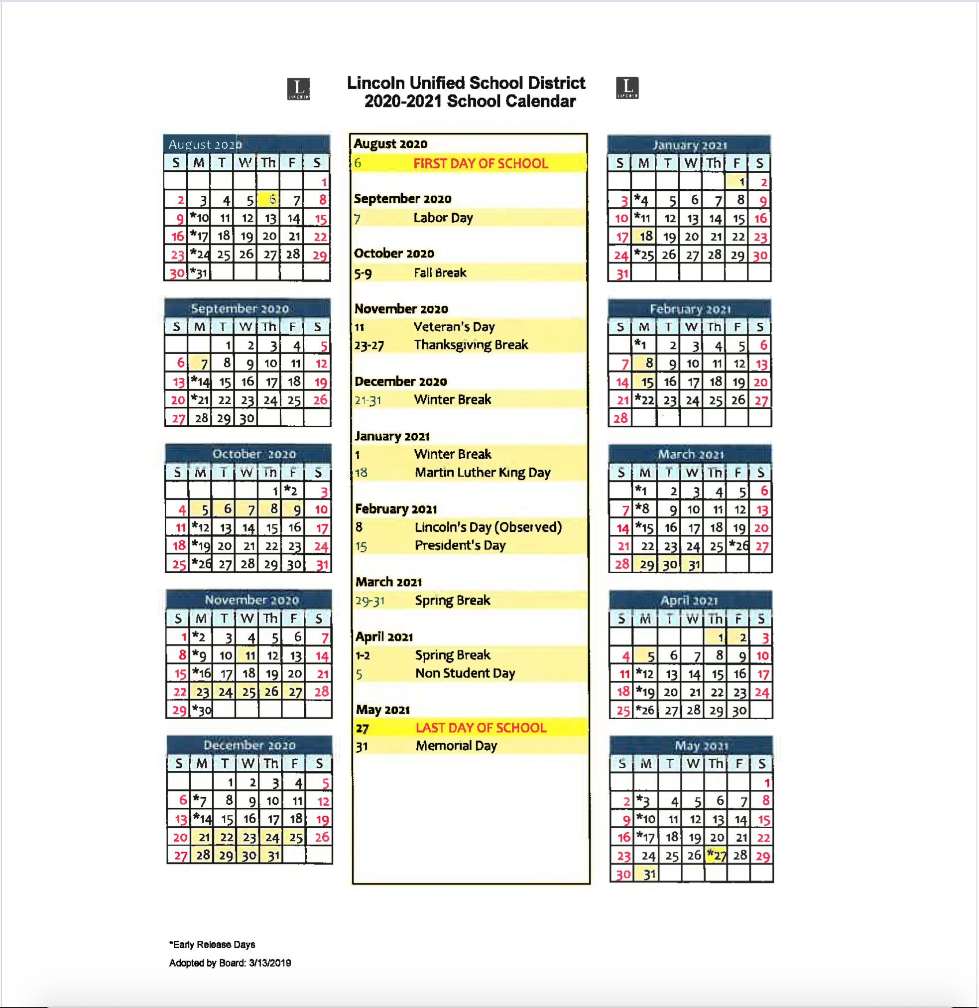 Lincoln Unified School District For City Of Merced School District Calendar