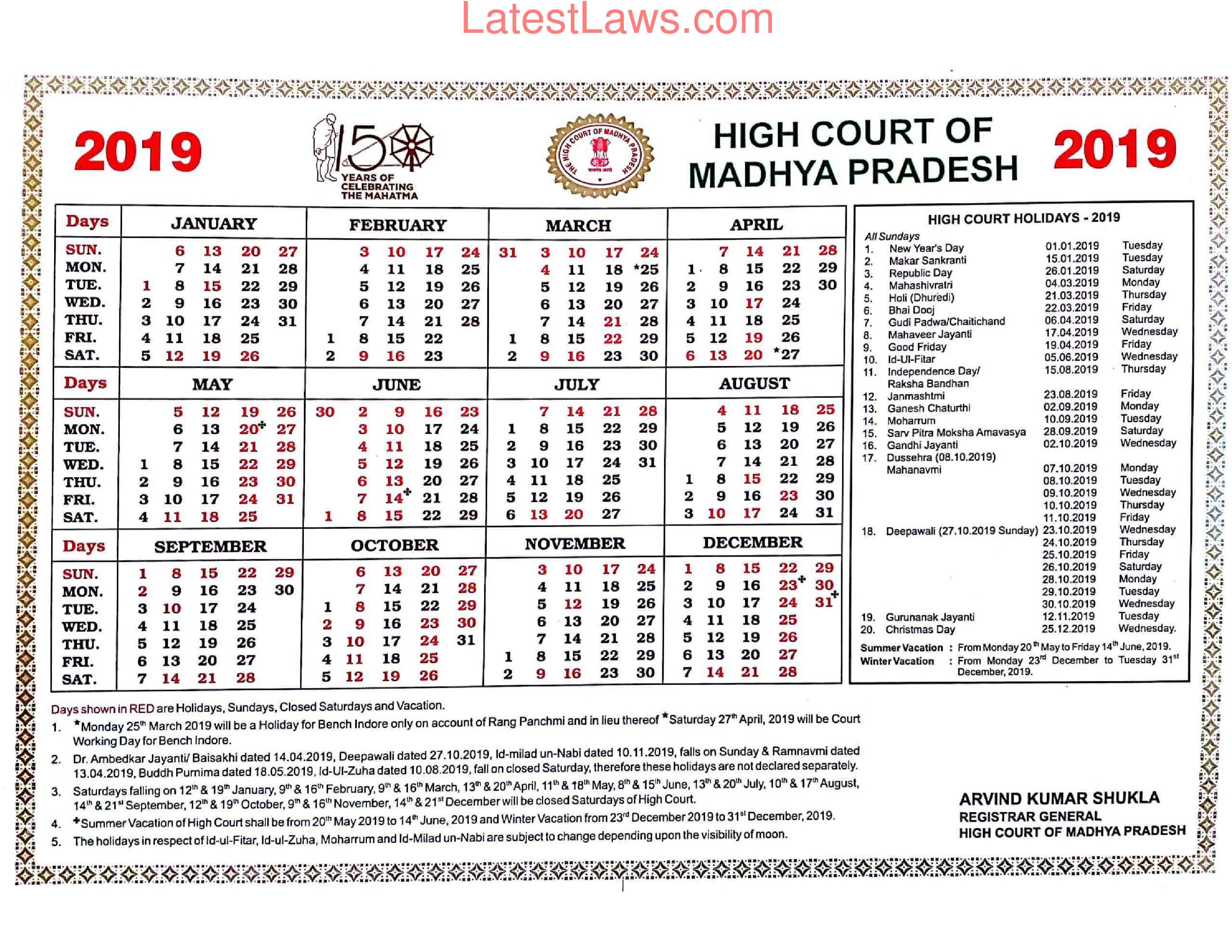 Madhya Pradesh High Court Calendar 2019 Inside Lex Dist 1 Calendar