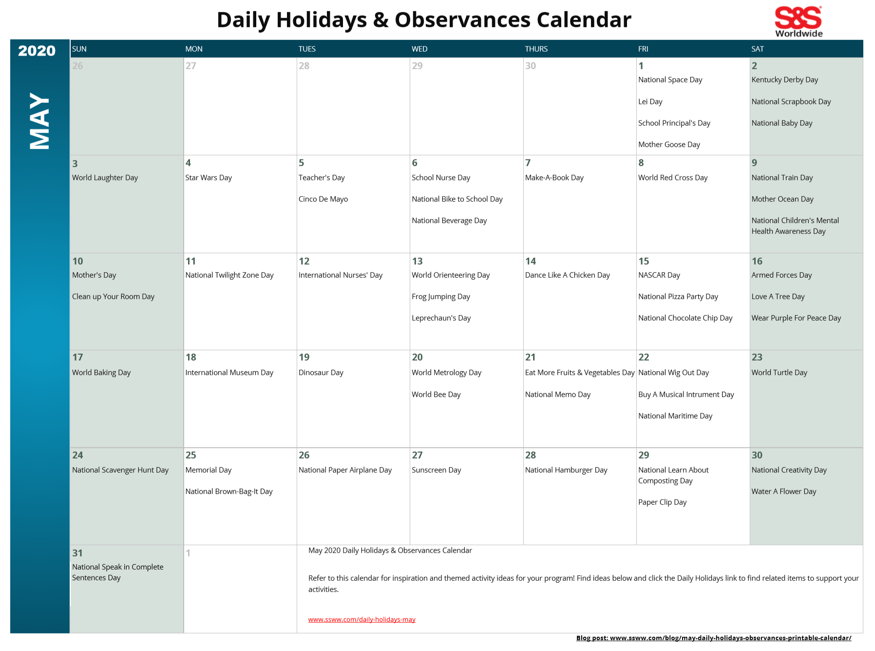 May Daily Holidays & Observances Printable Calendar - S&s Blog Throughout Every Day Is A Holiday Printable