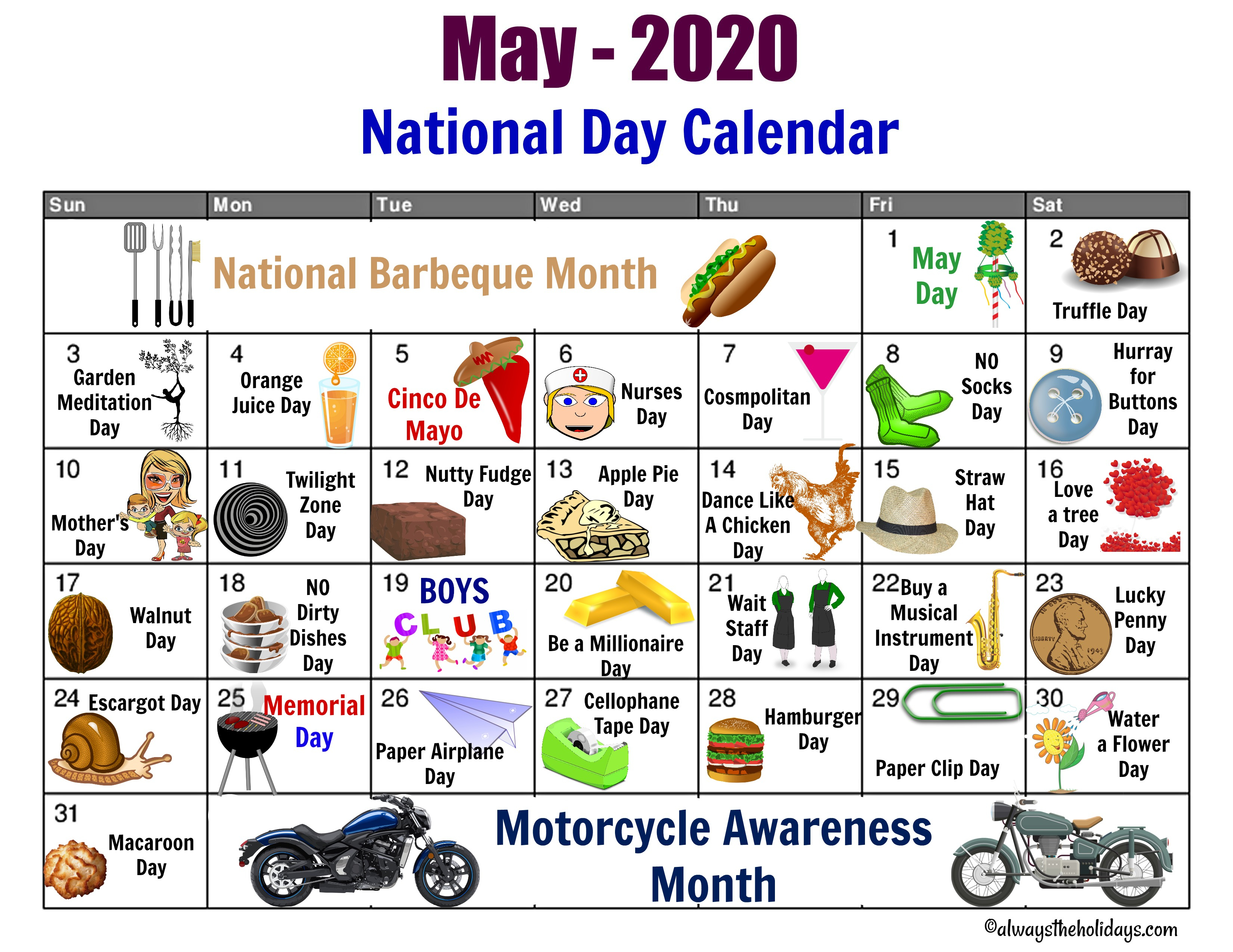 May National Day Calendar – Free Printable – Always The Holidays Pertaining To Every Day Is A Holiday Printable