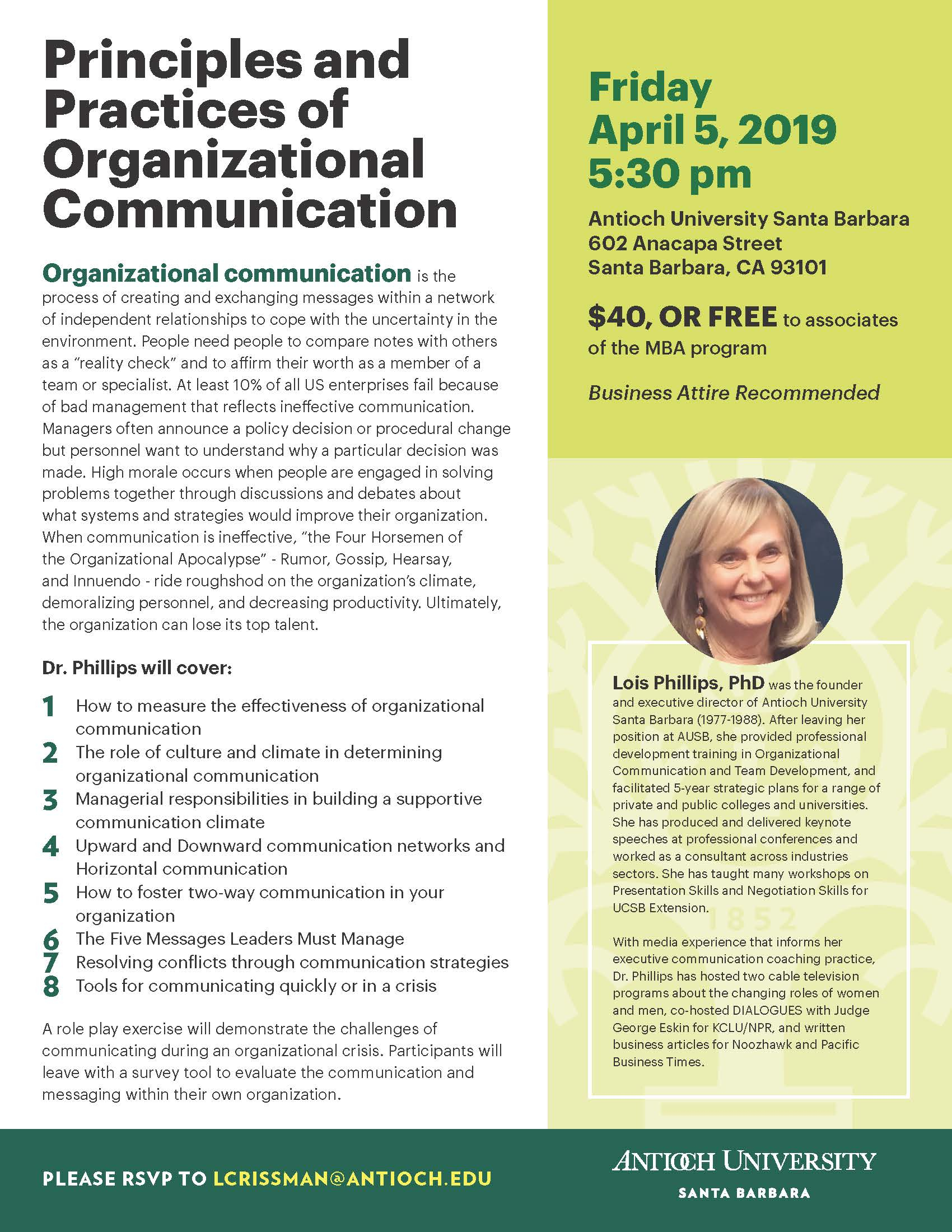 Mba Workshop: Organizational Communication | Antioch Santa In University Of California Santa Barbara Academic Calender