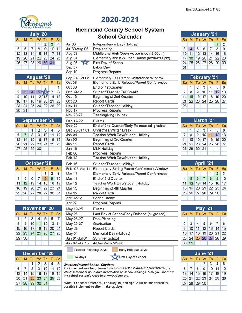 Media Center / 2020-2021 School Calendar in Richmond Countyboard Of Education 2021 Calendar