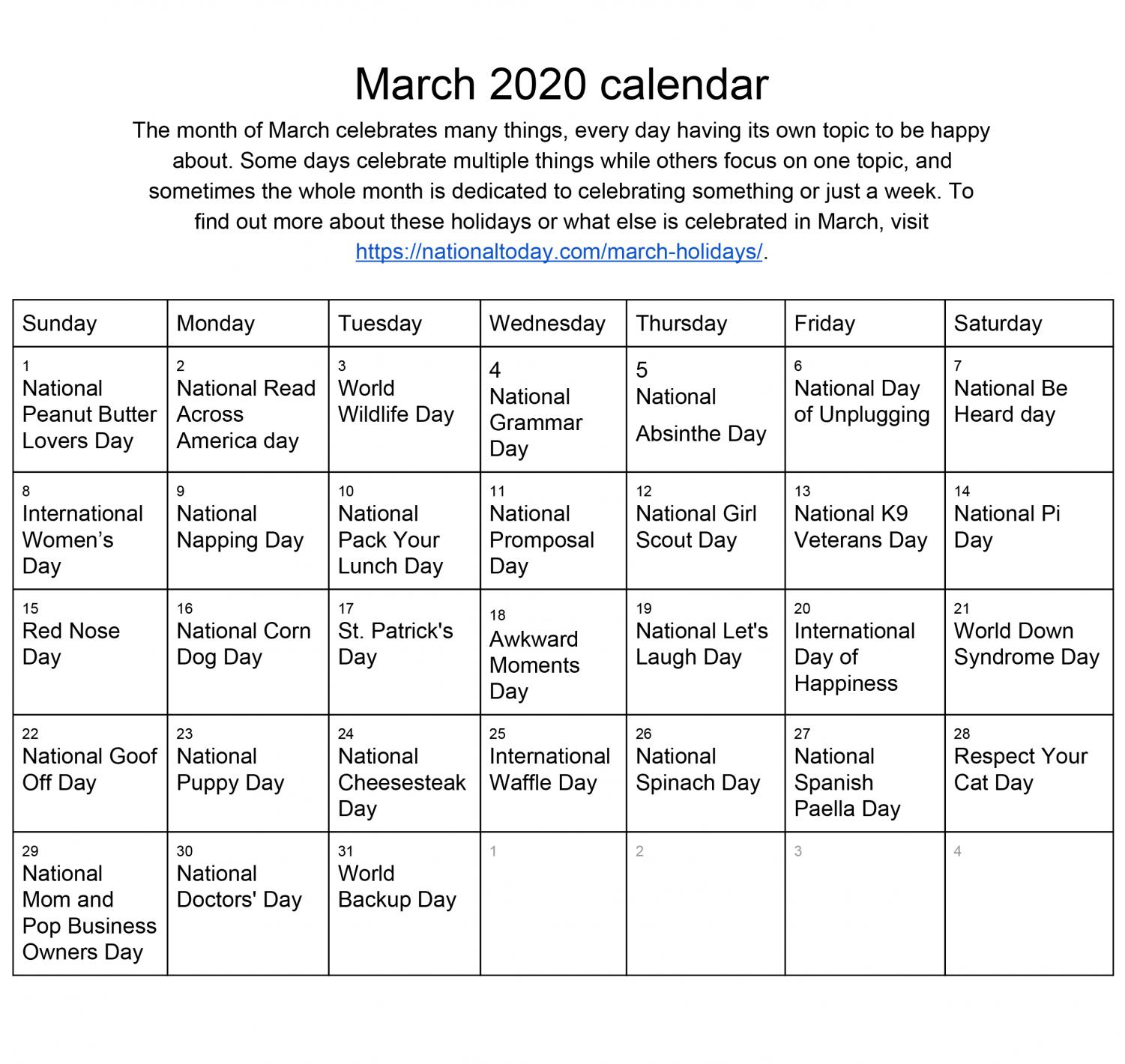National Celebrations Calendar  March – Lhstoday Regarding Fort Zumwalt Academic Calendar