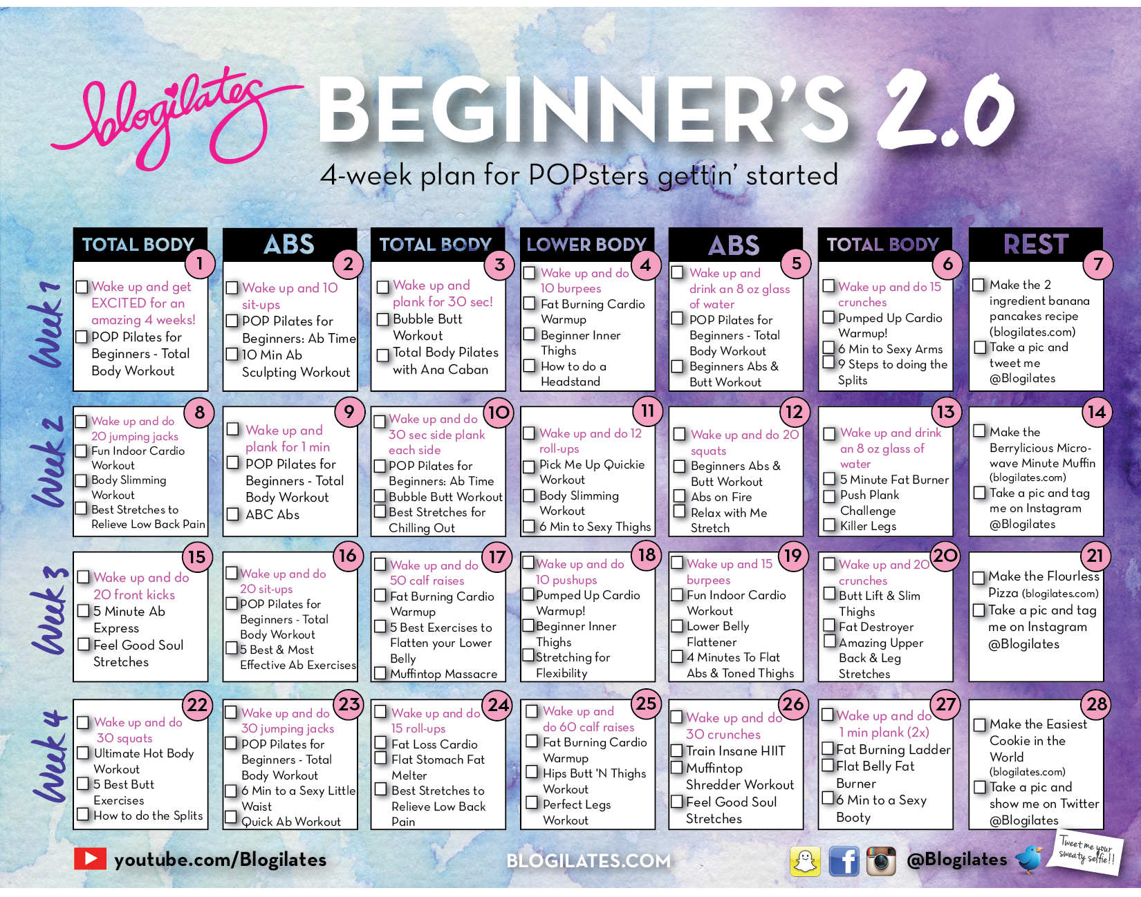 New Beginners Calendar 2.0 – Blogilates In Squat Challenge Calendar Beginner Printable