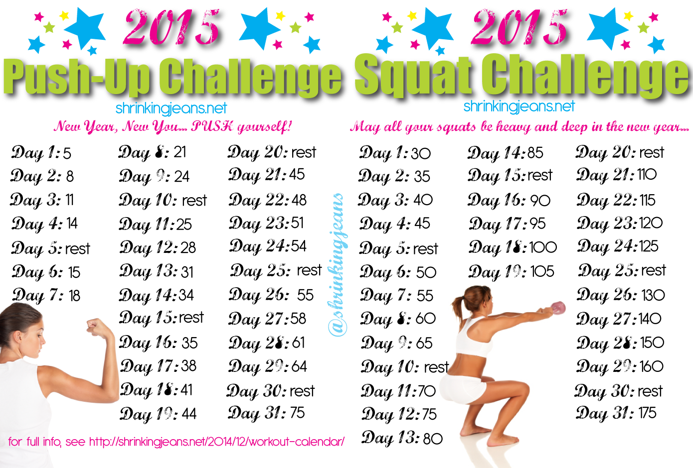 New Year, New You 31 Day Squat And Push Up Challenge | Push Intended For Squat Challenge Calendar Beginner Printable