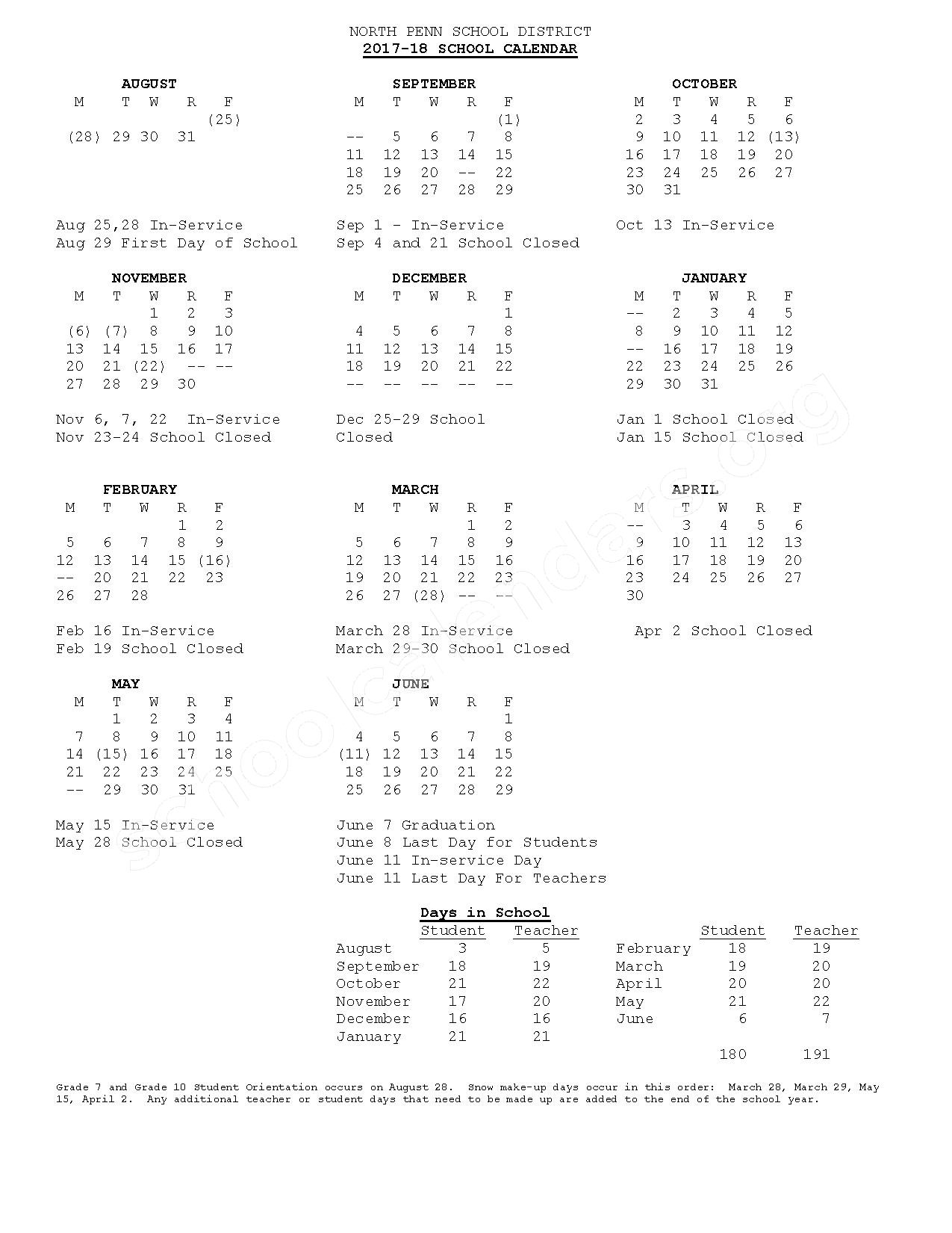 North Penn School District Calendars – Lansdale, Pa Intended For North Penn School District Calendar