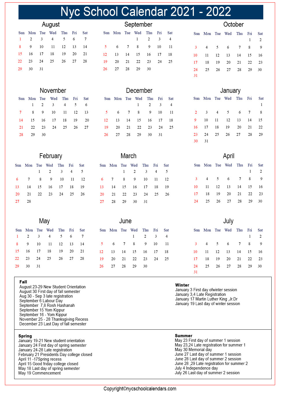 Nyc School Calendar 2021 ✅❤️ Pertaining To Nyc Doe Calendar 2015 2020