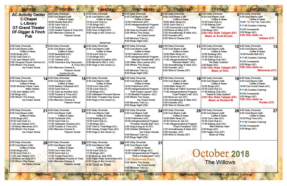 October 2018 Assisted Living Activity Calendar | Assisted With Regard To Assisted Living Activity Calendar Ideas
