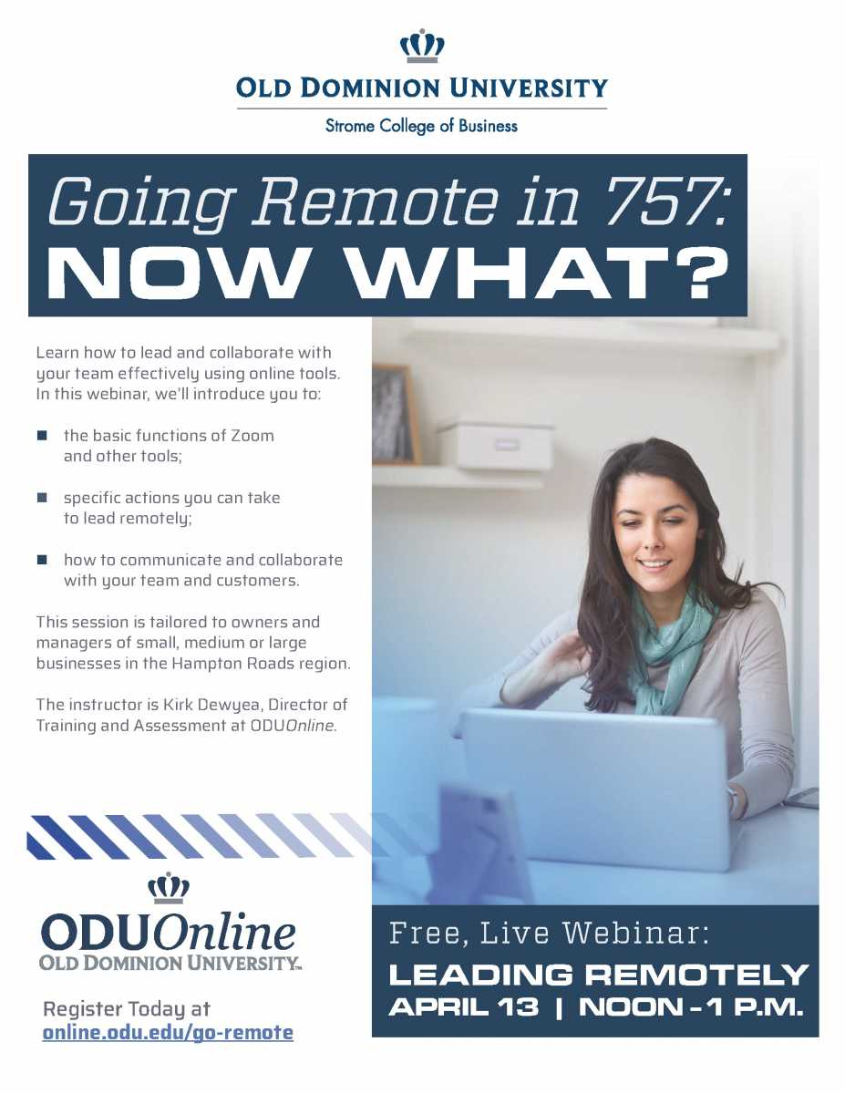 Odu Presents: Going Remote In The 757 | Member News | News Within Old Dominion University Calendar 2021